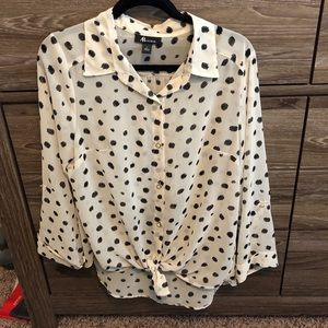 Women's Cream & Black Polka Dot Blouse